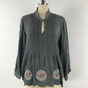 Johnny Was Keyhole Front Floral Embroidered Tunic